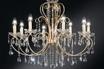 8 light gold coloured chandelier