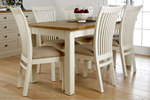 White distressed painted dining table