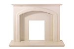Traditional cream marble fireplace surround
