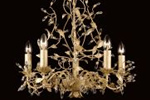 Gold leaves and crystal chandelier