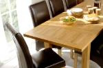 Dining table with leather dining chairs