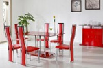 Red glass dining table