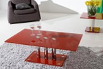 Red glass coffee table