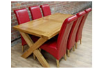 Oak dining table, red leather dining chairs