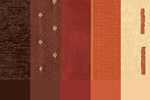 Fabric by the metre, orange and browns