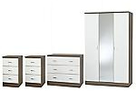 White bedroom furniture package with mirrored wardrobe