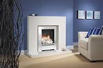 Be Modern white marble surround and gas fire